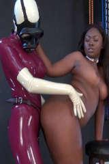 Lady Anastasia strap on fucks black slavegirl