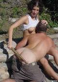 Beaten outdoor at the woodpile